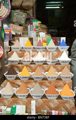Colourful spices laid out in the market, Aswan, Upper Egypt - Stock Photo