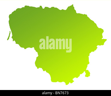 Green gradient map of Lithuania solated on a white background. - Stock Photo