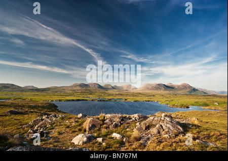 Lake at Arkeen More, overlooking the Twelve Bens mountain range, Connemara, County Galway, Ireland - Stock Photo