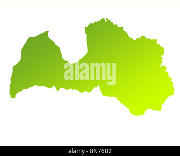 Green gradient map of Latvia solated on a white background. - Stock Photo