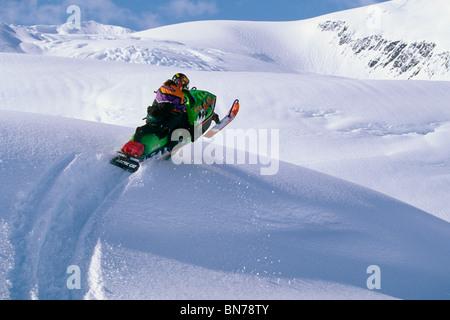 Snowmobile Blackstone Glacier Kenai Peninsula AK winter scenic - Stock Photo