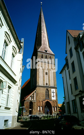 Petrikirche (St. Peter's church) in the German city of Rostock. - Stock Photo