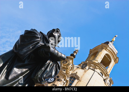 Statue of Martin Luther in Front of the famous reconstructed Church Frauenkirche in Dresden. Church Of Our Lady - Stock Photo