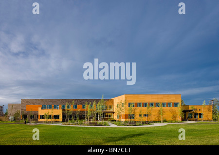 The Morris Thompson Cultural and Visitors Center in downtown Fairbanks, Alaska - Stock Photo