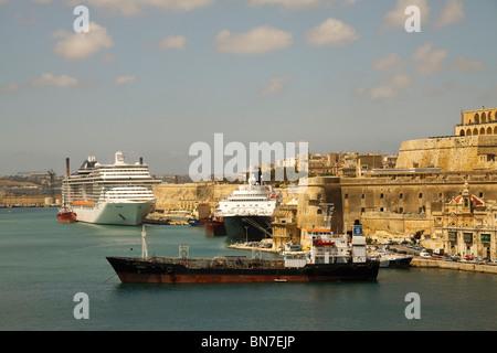 Ships in the Grand Harbour, Valletta, Malta - Stock Photo