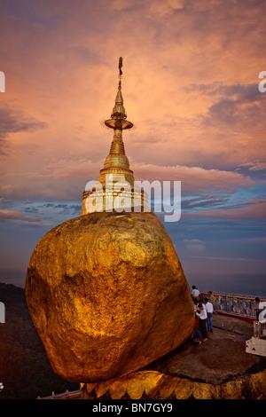 The Golden rock, Kyaiktiyo, Myanmar, Burma - Stock Photo