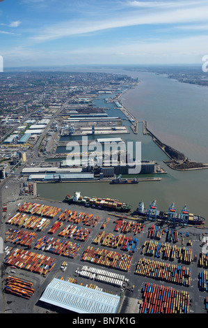 Liverpool Docks and the River Mersey from the air, North West England, with the city behind - Stock Photo