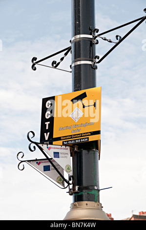 a safer partnership cctv sign in Birmingham uk - Stock Photo