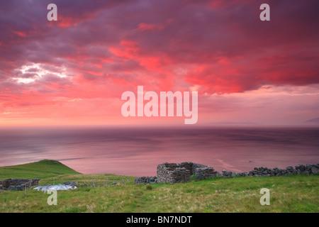 Sunset at the island Runde on the Atlantic west coast, Møre og Romsdal, Norway. - Stock Photo