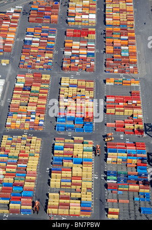Containers at Bootle Docks, from the air, North West England - Stock Photo