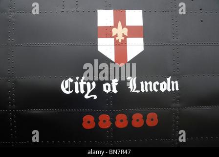 Detail from Battle of Britain Memorial Flight Lancaster Bomber, 2010. - Stock Photo