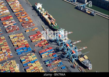 Ships loading at Bootle Docks, Liverpool , from the air, North West England - Stock Photo