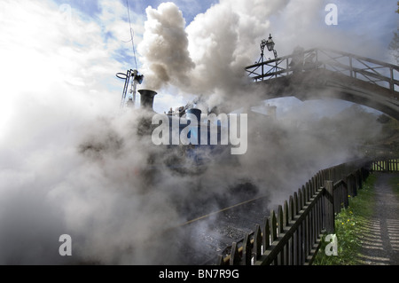 A steam locomotive train puffs under a footbridge at Haverthwaite station in the Lake District, Cumbria England - Stock Photo