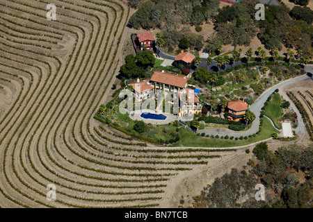 aerial view above terraced mountainside vineyard estate Sonoma Valley California - Stock Photo