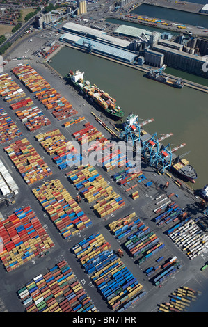 Bootle Docks, Liverpool from the air, North West England - Stock Photo