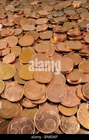 Money in the Euro currency as coins, Belgium - Stock Photo