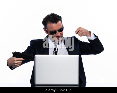 man caucasian hacker computer attack isolated studio on white background - Stock Photo