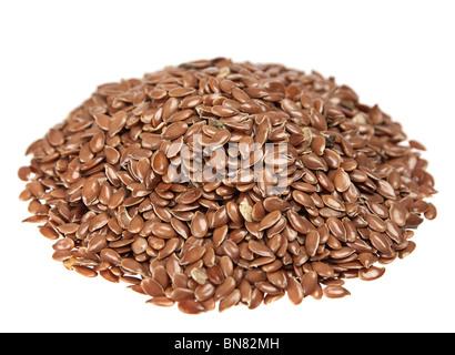 Flax seed round heap on white - Stock Photo