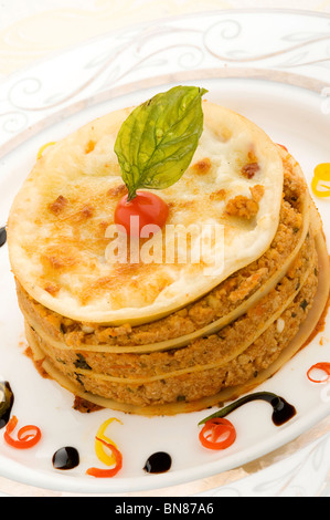 Dustin Chicken Lasagna - Layered Pasta filled with chicken, glazed with Parmesan cheese and garlic bread - Stock Photo