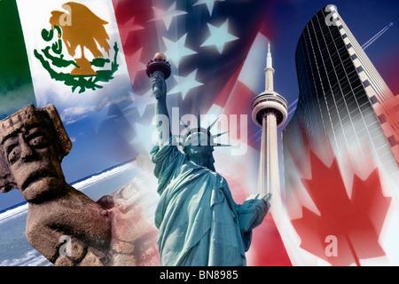 NAFTA - North American Free Trade Agreement - Stock Photo