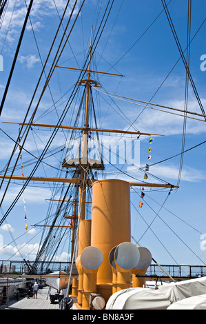 The Deck Area with Funnels and Masts with Rigging of HMS Warrior at Portsmouth Naval Dockyard England United Kingdom - Stock Photo