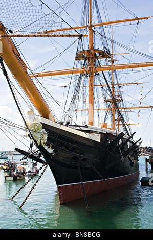 Royal Navy First Steam Powered Warship Docked at Portsmouth Historic Dockyard Hampshire England United Kingdom UK - Stock Photo