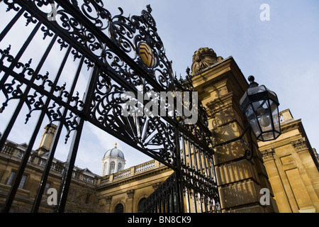 Entry gate / gates / gateway at the entrance of Clare College from Trinity Lane. Cambridge University. - Stock Photo
