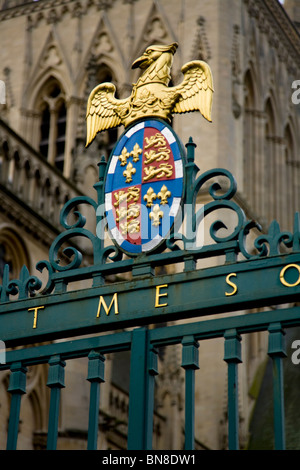 The College arms of St John's College, Cambridge & entry gate / gates / gateway at the entrance of St John's College. - Stock Photo