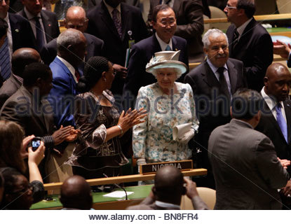 United Nations - New York - July 06 2010 - Queen Elizabeth II of the United Kingdom addresses the UN General Assembly - Stock Photo