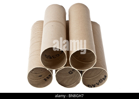 Pile of old paper roll cardboard tubes - Stock Photo