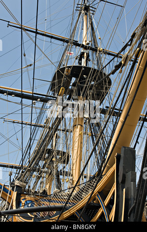 The Royal Navy Warship HMS Victory Lord Nelson's Flagship Docked at Portsmouth Historic Naval Dockyard England United - Stock Photo