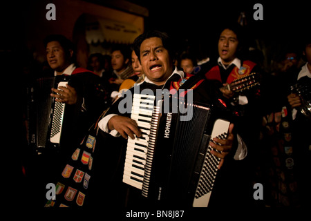 University musicians, known as tunos, play during holy week celebrations in Oaxaca, Mexico, April 12, 2009. - Stock Photo