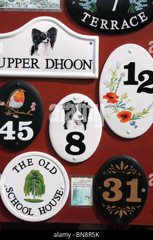 Door house number ceramic plates - Stock Photo