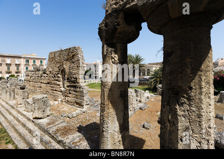 The Temple of Apollo, Ortigia, Syracuse (Siracusa), Sicily, Italy - Stock Photo