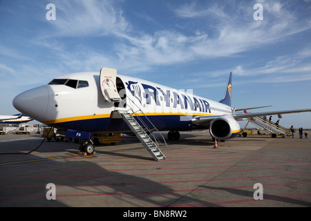 Ryanair aircraft at the airport of Faro, Portugal. June 20th, 2010 - Stock Photo