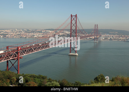 Suspension bridge Ponte 25 de Abril over the Tagus river in Lisbon, Portugal