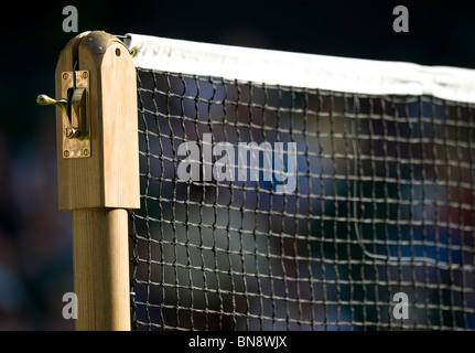 Centre Court net and post detail during the Wimbledon Tennis Championships 2010 - Stock Photo