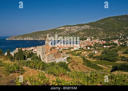 Benedictine monastery of St. Nicholas, surrounded by vineyards, on a hill above Komiza on the island (otok) of Vis, Croatia.