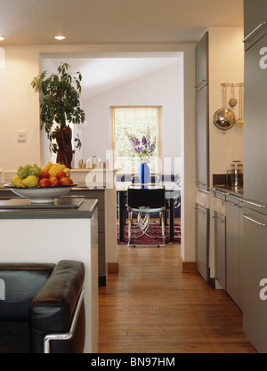 Wooden Flooring In Small Open Plan Kitchen And Living Room Stock Photo Alamy