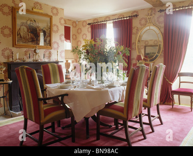... Patterned Wallpaper And Striped Upholstered Chairs In Traditional  Country Dining Room With Pink Curtains And Pink