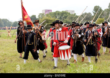 Infrantry squad at Battle of Klushino - 400 years festival in Warsaw, Poland, 3-4 of July 2010. - Stock Photo