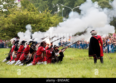 Rifleman squad at Battle of Klushino - 400 years festival in Warsaw, Poland, 3-4 of July 2010. - Stock Photo