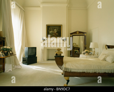 Bedroom Curtains cream bedroom curtains : Cream Wardrobe In Bedroom With Cream Voile Drapes On Walls And ...
