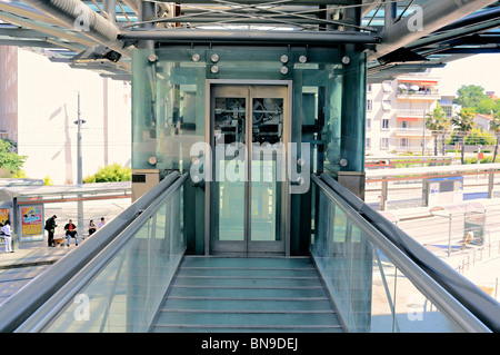 Entrance to a public elevator, Montpellier, France - Stock Photo