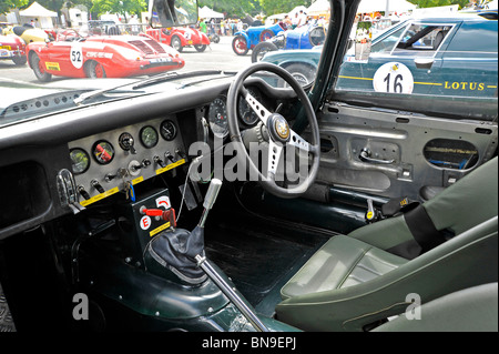 Classic car Jaguar E type interior on display at Bressuire Deux-Sevres France - Stock Photo