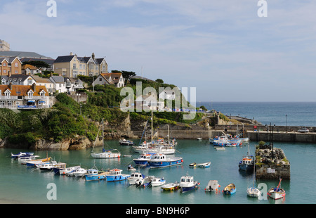 boats in the harbour at newquay, cornwall, uk - Stock Photo