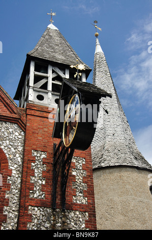 Clock tower of St. Michael-in-Lewes Church, High Street, Lewes, East Sussex, England, United Kingdom - Stock Photo