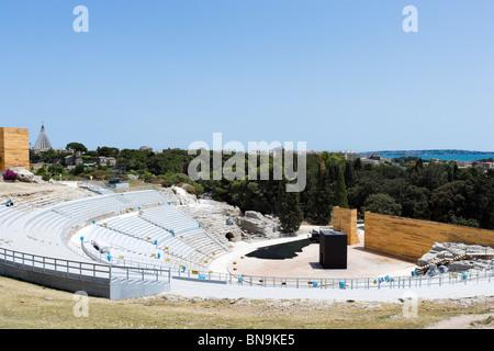 The Greek Theatre (Teatro Greco) set up for a seasonal performance, Parco Archeologico della Neapolis, Syracuse, Sicily, Italy