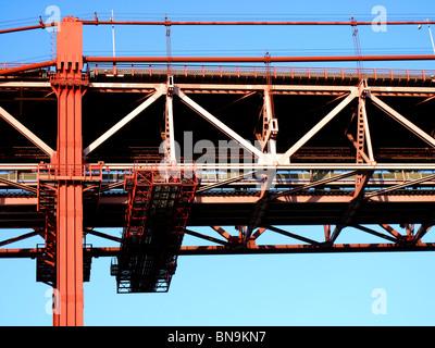 The Ponte 25 de Abril (25th April) Suspension bridge crossing the Rio Tejo (River Tagus) in Lisbon Portugal - Stock Photo