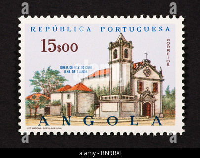 Postage stamp from Angola depicting the Church of our Lady, Luanda Island - Stock Photo